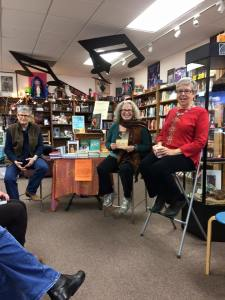 So fun to go to book events. Here I am with Mary S. Black and Catherine Musemeche. Photo by Debra Winegarten.
