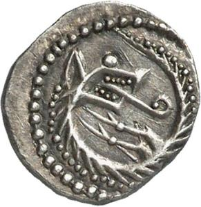 Snake-Wolf transformation. Silver early penny, Series K, South-East England. CM.1796-2007, De Wit Collection.