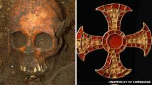 The skull of an Anglo-Saxon girl was found with a jeweled symbol of Christianity