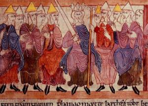 Anglo-Saxon king with his witan. Biblical scene in the Illustrated Old English Hexateuch (11th century)