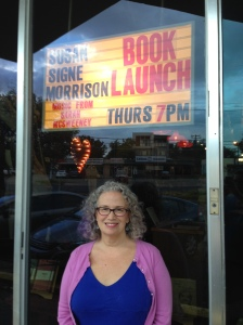 Here I am standing outside Malvern Books before the event.
