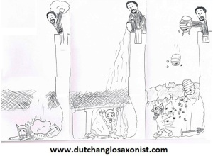 The Dutch Anglo-Saxonist's own cartoon. Do not try this at home!
